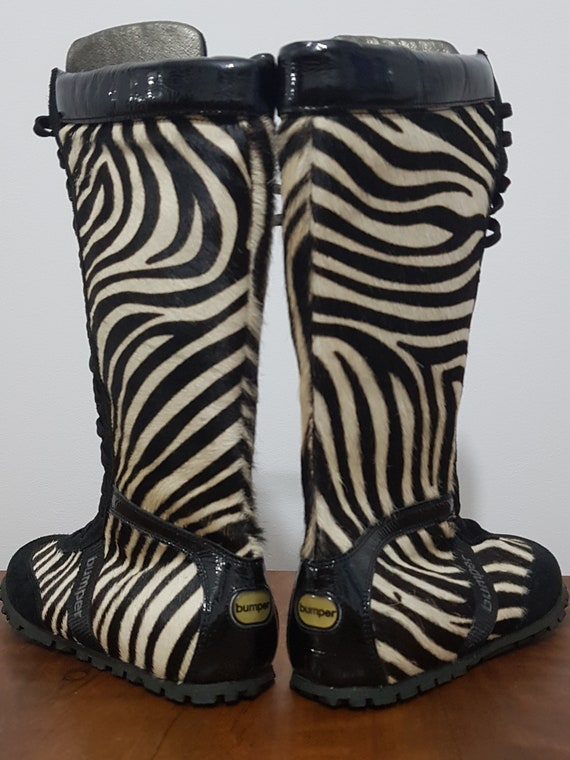 BUMPER leather boots. These zebra boots genuine le