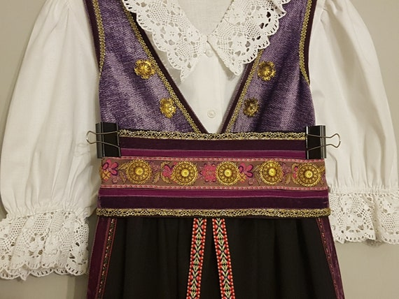 Vintage Balkan folk costume, dress, apron, embroid