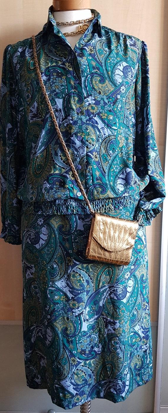 Vintage Silk Carat Peter Hahn silk seide skirt blo
