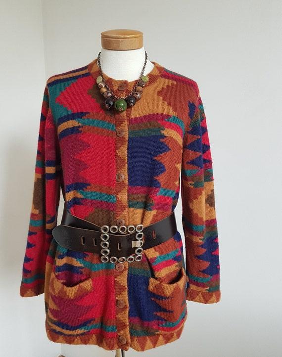 vintage alpaca Cardigan a la Missoni abstract swea