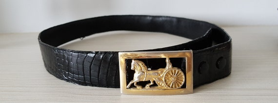Vintage 80s CELINE leather belt with reptile