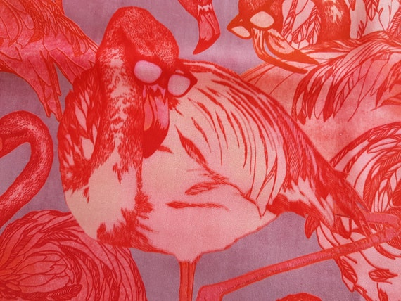 Vintage 90s Silk scarf colorful flamingos with gla