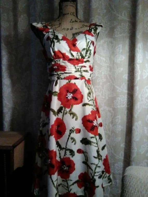 Opium Flower Red Poppy Print Dress - American Goth