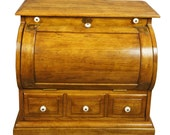 Early American Miniature Half Cylinder Oak Drop Front Secretary Cabinet Table
