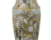 Antique Japanese Satsuma Enameled Ceramic Vase 6 in Tall Gold Yellow Blue Glaze