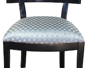 Modern Black Pierced Square Back Desk Accent Side Chair w Polka Dot Seat