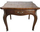 Karges Louis XV Style Side Table Neoclassical Walnut Burl Brass Mount Accents