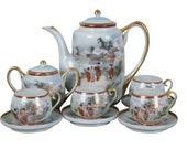 12 Pc Japanese Handpainted Porcelain Tea Set Satsuma Moriage Geisha Scene