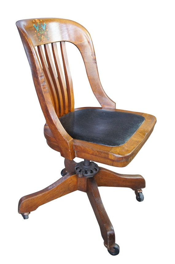 Fantastic Milwaukee Chair Co Arts Crafts Mission Oak Adjustable Rolling Leather Seat Caraccident5 Cool Chair Designs And Ideas Caraccident5Info