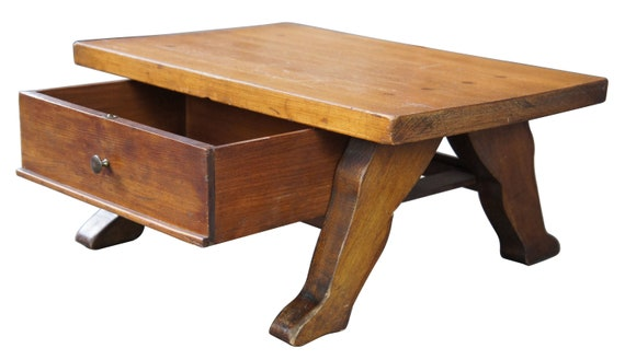 Antique Early American Style Pine Foot Stool With Drawer Shoe Shine Bench Seat