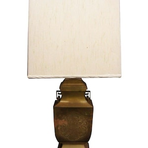 Tyndale Brass Plated Asian Canister Table Lamp Vintage Chinoiserie Wood Base