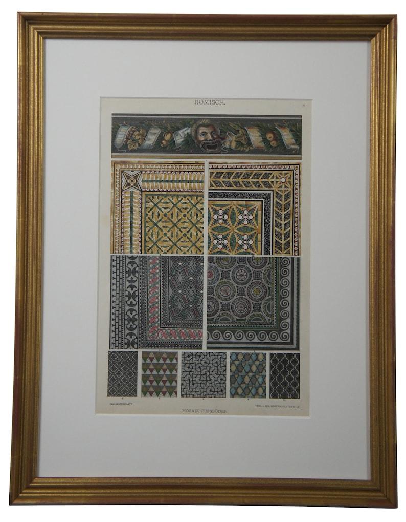 2 19th Century Emil Hochdanz Art Nouveau Greek Roman Book Plates Mosaic Floors