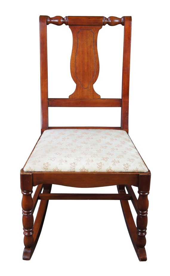 Amazing Antique Walnut Splat Back Rocking Chair Rocker Upholstered Seat Roses Childs Gmtry Best Dining Table And Chair Ideas Images Gmtryco