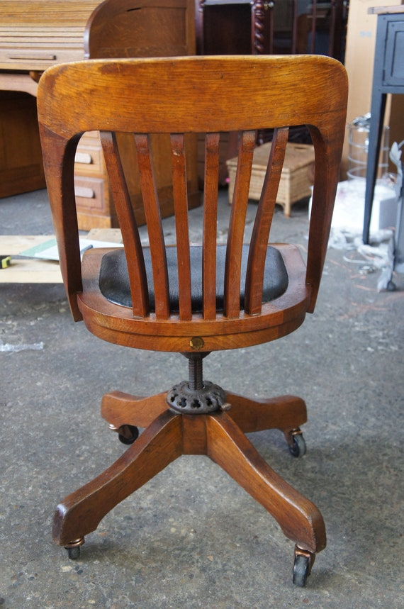 Wondrous Milwaukee Chair Co Arts Crafts Mission Oak Adjustable Rolling Leather Seat Caraccident5 Cool Chair Designs And Ideas Caraccident5Info