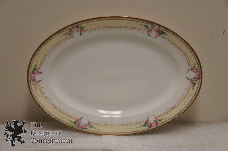 2 Haviland France Oval China Platters Serving Dishes Pink Roses Floral Gilded