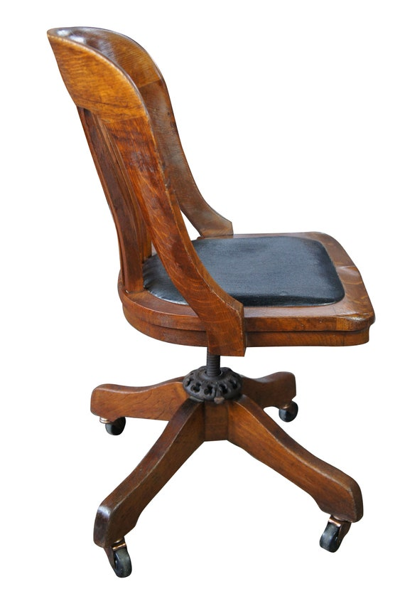 Enjoyable Milwaukee Chair Co Arts Crafts Mission Oak Adjustable Rolling Leather Seat Caraccident5 Cool Chair Designs And Ideas Caraccident5Info