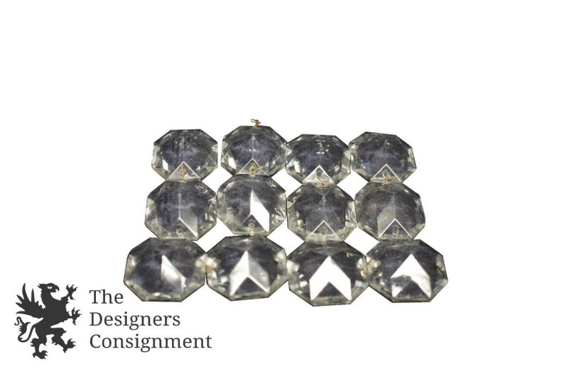 Lot of 30 Vintage 2.25 Cut Octagonal Crystals Double Sided Chandelier Prisms
