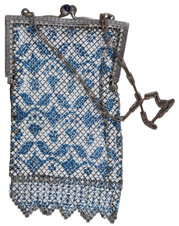 Antique Mandalian Art Deco Enamel Mesh Purse Hand… - image 3