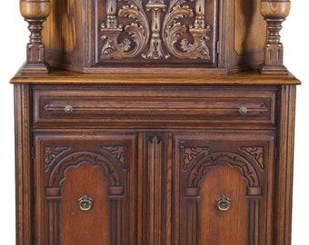 "Antique English Jacobean Revival Oak Court Cupboard China Cabinet Hutch 63"""
