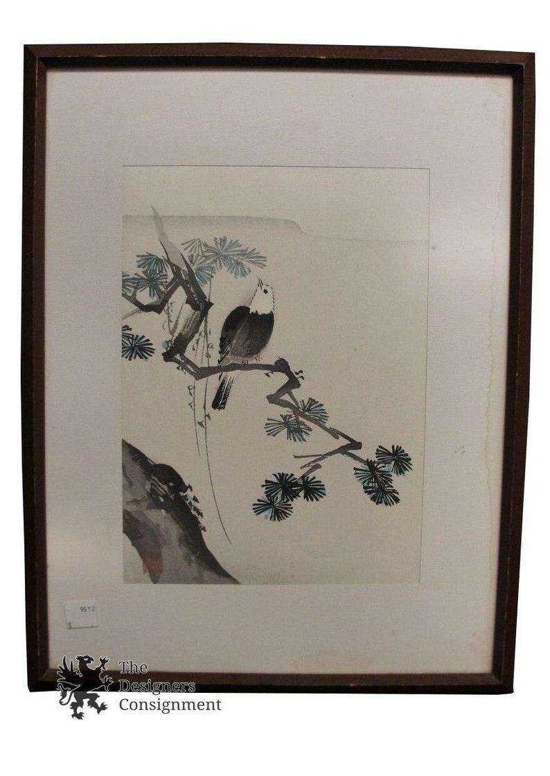 Vintage Japanese Woodblock Landscape Print Eagle Pirched on Tree Art Wilderness