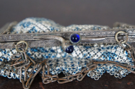 Antique Mandalian Art Deco Enamel Mesh Purse Hand… - image 5