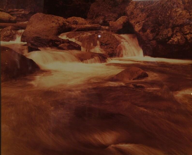 Vintage William Plante Sepia Photograph Rocky Mountains Colorado Rapids