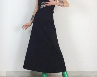 Vintage dress long 60s in black satin