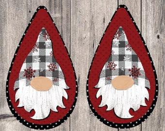 Gnome Earring Designs, Earring Sublimation Images, Earring Templates, Christmas Sublimation, Christmas  Downloads, Drop Earrings, Gray