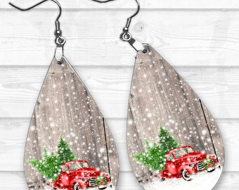 Red Truck Earring Designs, Earring Sublimation, Earring Templates, Christmas Sublimation, Christmas PNG, Drop Earrings, Old Truck Designs