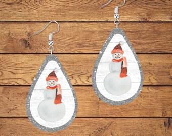Snowman Earring Designs, Earring Sublimation, Earring Templates, Christmas Sublimation, Christmas PNG, Drop Earrings, Sublimation Designs