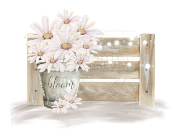 Daisy Crate Design, Spring Sublimation, Easter Sublimation, Spring PNG, Daisy PNG, Sublimation Designs