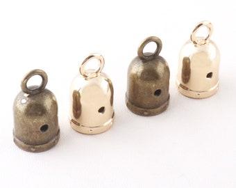Antique Silver Plated End Cap Tassel Caps 2 pcs 13mm Brass Cage Cap