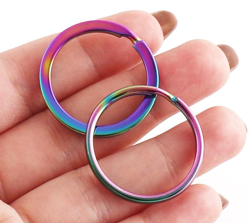 Split Ring Key Ring Rainbow Flat Split Ring 1 Inch Connectors Ring Colorful Key Chain Ring Chain Hook Key Fob Supplies-10pcs