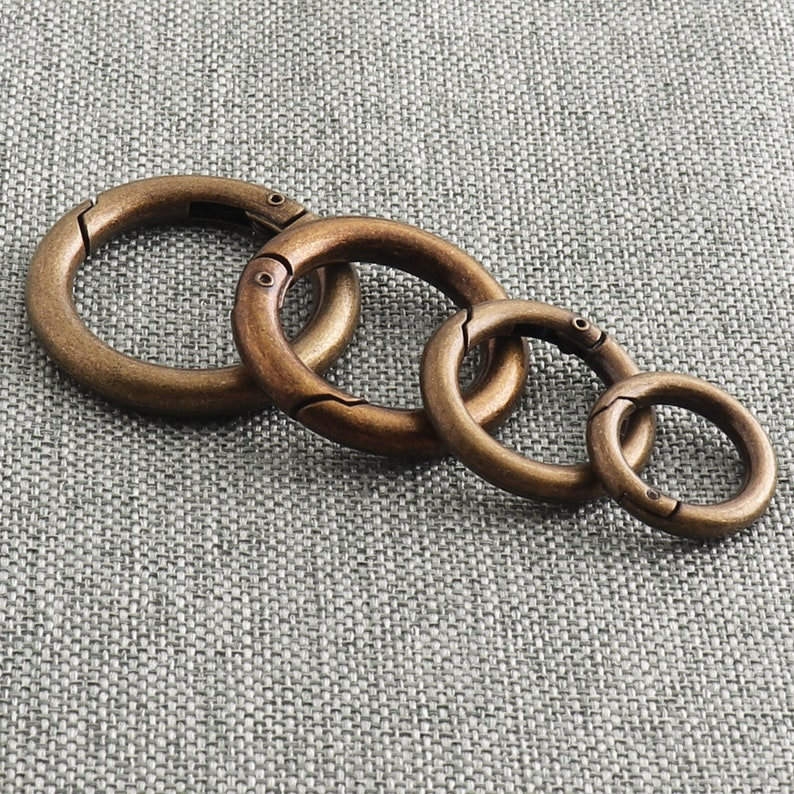 Antique Bronze Spring Ring 13172125mm Purse Strap Clasp Ring Snap Hook Gate Ring For Carabiner Key Chain Round Hook Ring-6pcs