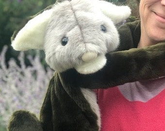 Watson the soft Slobbit who is trying to hold it all together!  – large adult hand puppet made with faux fur