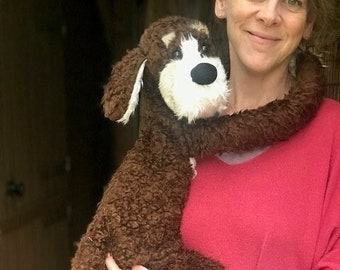 Lark the scruffy dog – adult hand puppet made with faux fur