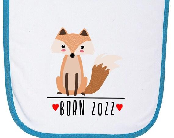 """Kleckerliese Baby Latz """"Born 2022 Tiermotiv Fuchs"""" Lätzchen Klettverschluss Babylatz Babylätzchen mit Aufdruck Motiv"""