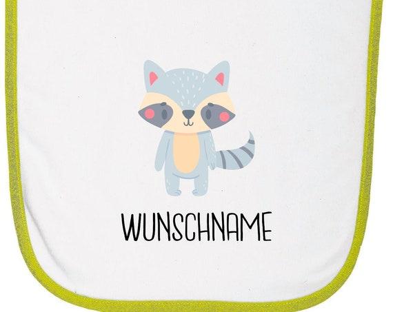 """Kleckerliese Baby Latz """"Tiermotiv mit Wunschnamen Waschbär"""" mit Wunschtext Lätzchen Klettverschluss Babylatz Babylätzchen mit Aufdruck Motiv"""