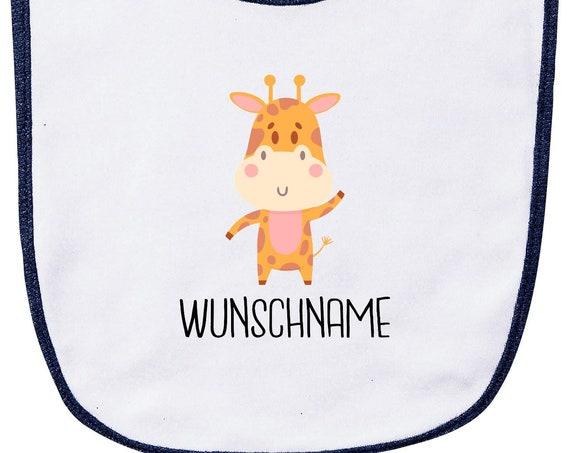 """Kleckerliese Baby Latz """"Tiermotiv mit Wunschnamen Giraffe"""" mit Wunschtext Lätzchen Klettverschluss Babylatz Babylätzchen mit Aufdruck Motiv"""