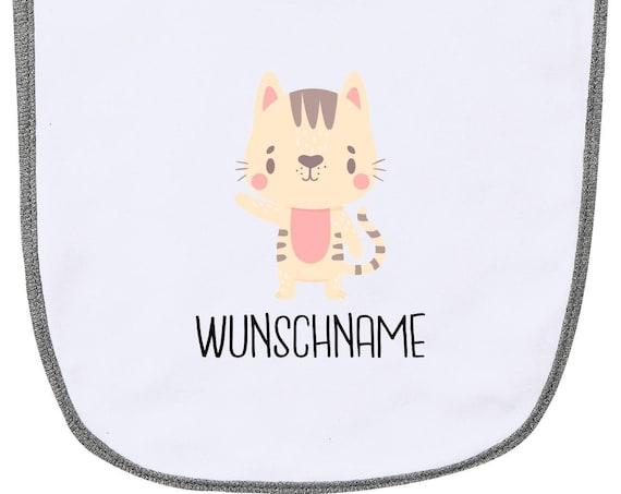 """Kleckerliese Baby Latz """"Tiermotiv mit Wunschnamen Katze Mietze Cat"""" mit Wunschtext Lätzchen Babylatz Babylätzchen mit Aufdruck Motiv"""