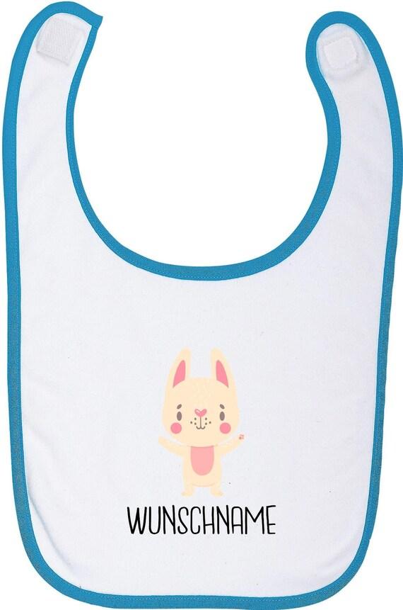 """Kleckerliese Baby Latz """"Tiermotiv mit Wunschnamen Hase Häschen"""" mit Wunschtext Lätzchen Babylatz Babylätzchen mit Aufdruck Motiv"""