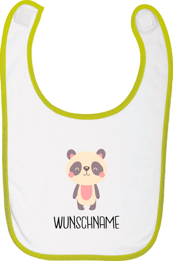 """Kleckerliese Baby Latz """"Tiermotiv mit Wunschnamen Panda Pandabär"""" mit Wunschtext Lätzchen Babylatz Babylätzchen mit Aufdruck Motiv"""
