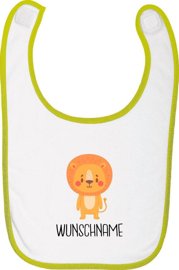 """Kleckerliese Baby Latz """"Tiermotiv mit Wunschnamen Löwe"""" mit Wunschtext Lätzchen Klettverschluss Babylatz Babylätzchen mit Aufdruck Motiv"""