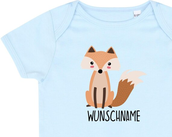 """kleckerliese baby bodybody """"fox"""" with desired name or text romper boy girl with logo motif"""