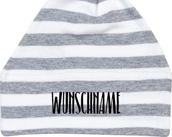 """Kleckerliese Baby Mütze mit Wunschtext """"Wunschname Name Wunschtext"""" Mützchen Hut Kopfbedeckung mit Aufdruck Motiv"""
