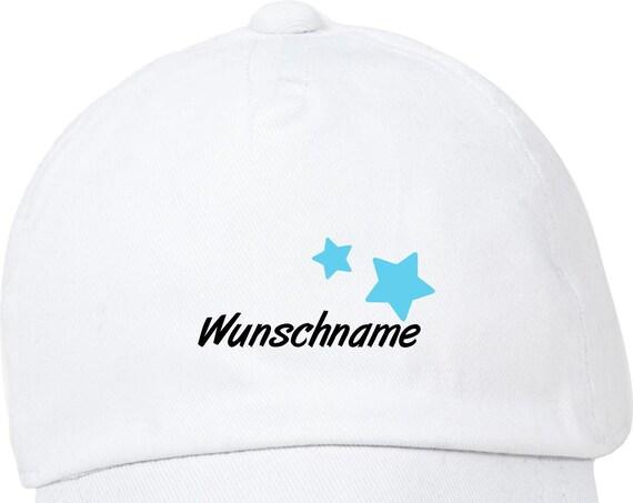 """Kleckerliese Baby Kinder Cap """"Name Wunschname Sterne"""" Cap Capy Mütze mit Wunschtext Aufdruck Motiv"""