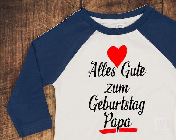 "Kleckerliese Baby Kids T-Shirt Long Sleeve Shirt ""Happy Birthday Papa"" Raglan Sleeves Boys Girl"