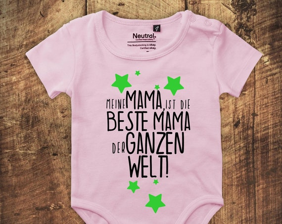 """kleckerliese Babybody Bodysuit """"My mom is the best mom in the world!"""" Fair Wear"""