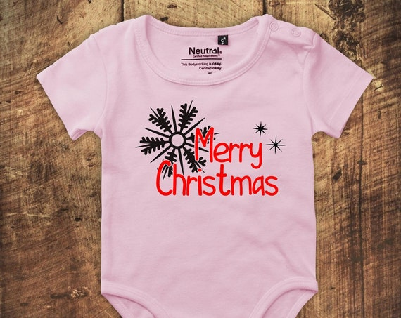 "kleckerliese Babybody Body ""Merry Christmas Sterne Eisstern"" Fair Wear"