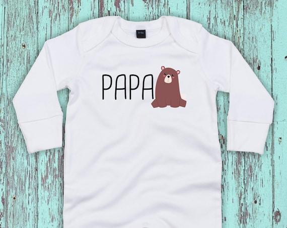 "Kleckerliese Baby Schlafanzug ""Papabär Papa Bär"" Sleepsuit Jungen Mädchen"